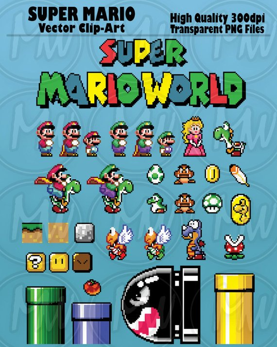 570x713 Super Mario World Clipart Mario Pixels 8 Bit Vector Etsy