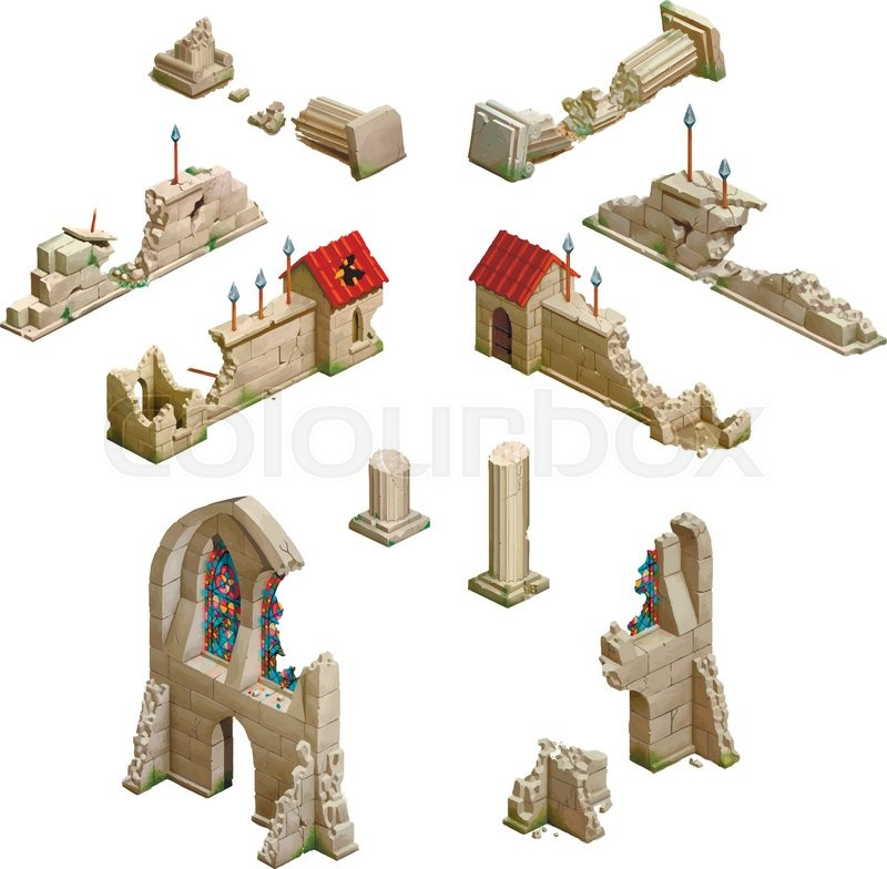 800x784 Big Set Of Medieval Buildings, Isometric Game Art Isolated On