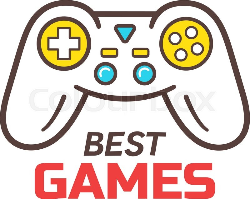 800x637 Games Store Logo Template. Video Game Controller Outline Icon