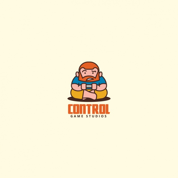 626x626 Man Playing Video Games, Logo Vector Free Download