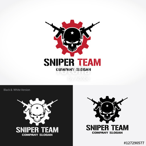 500x500 Sniper Team Logo, Game Logo, Gun Logo, Skull Logo, Vector Logo