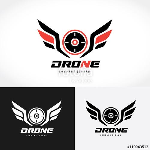 500x500 Drone Logo,wing Logo,game Logo,vector Logo Template. Stock Image