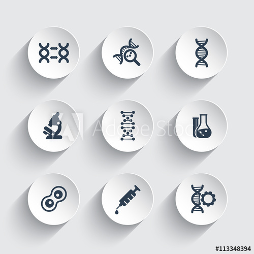 500x500 Genetics Icons, Dna Chain Vector Sign, Genetic Modification, Dna