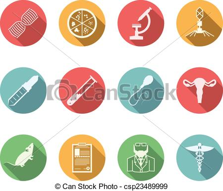 450x386 Colored Vector Icons For Genetics. Set Of Colored Circle Vector