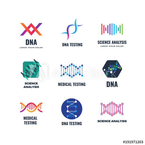 500x500 Dna Code Biotech Vector Science Genetics Logo. Helix Molecule