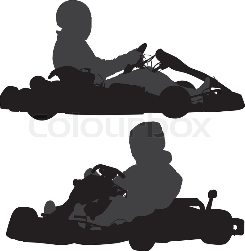 782x800 Go Kart Silhouette On White Background Stock Vector Colourbox