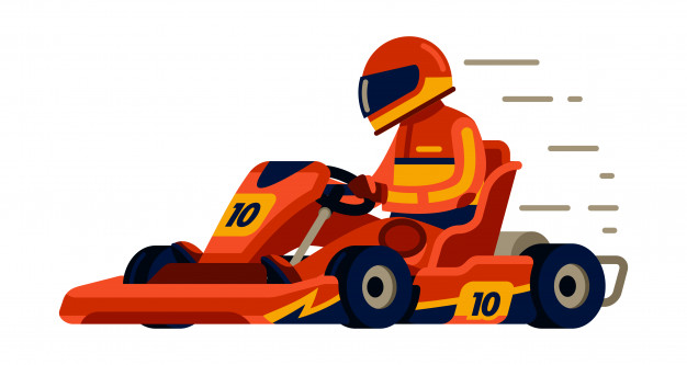 626x333 Go Kart Racing With Racer In Modern Flat Style Vector Premium