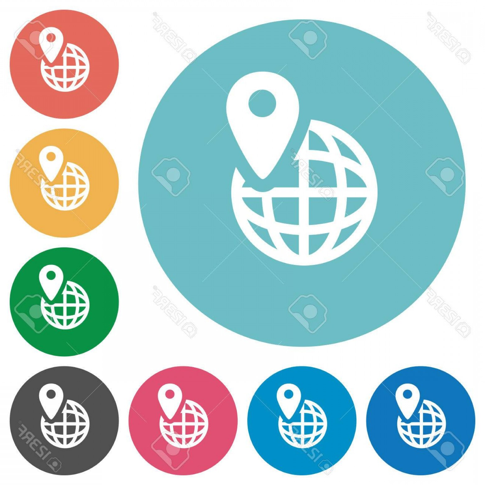 1560x1560 Photostock Vector Gps Location White Flat Icons On Color Rounded