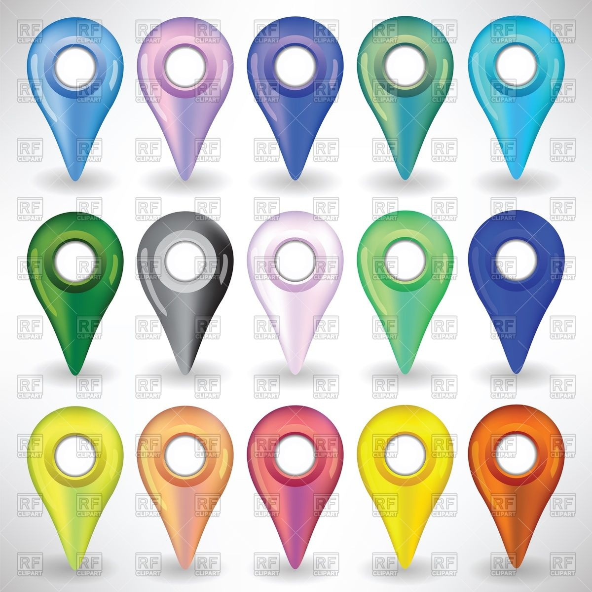 1200x1200 Colorful Gps Map Pins Vector Image Vector Artwork Of Objects