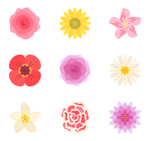 600x564 Flower Icons