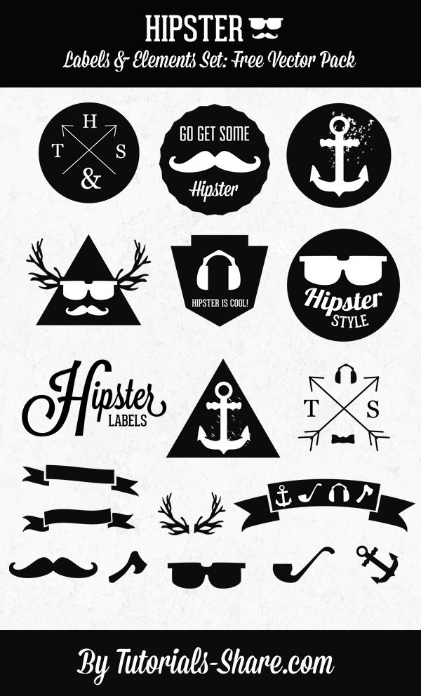 600x992 Hipster Labels Set Free Vector Pack Adobe Photoshop Tuto