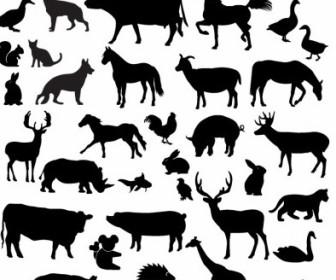 336x280 Vector Farm Animal Silhouette Collection Silhouettes Vector