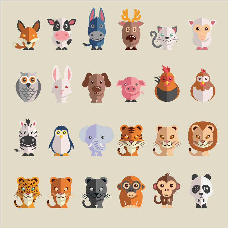 800x800 Cute Cartoon Animals Vector Free Vector Graphic Download
