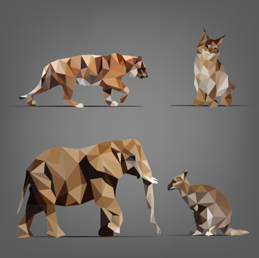 375x374 Geometric Shapes Wild Animals Vector Graphics 02 Free Free Download