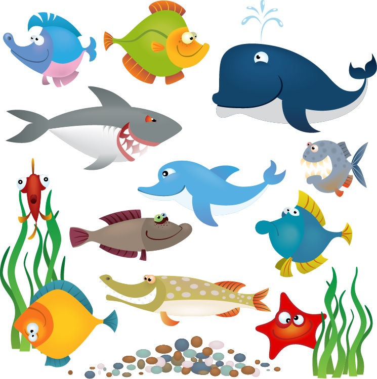745x750 Sea Animals Vector Set Free Vector Graphics All Free Web