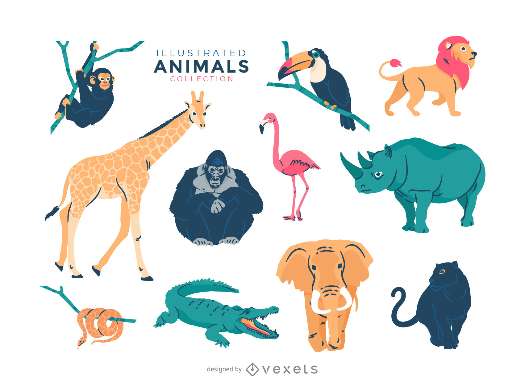 1701x1256 Animal Cartoon Vector Graphic