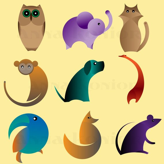 570x570 Animals Clip Art Minimalist Animal Vector Graphics Flat Etsy