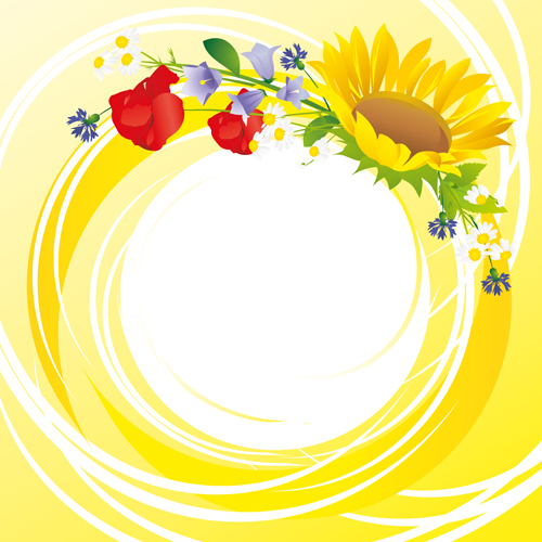 500x500 Flower With Yellow Round Background Vector Graphics Free Download