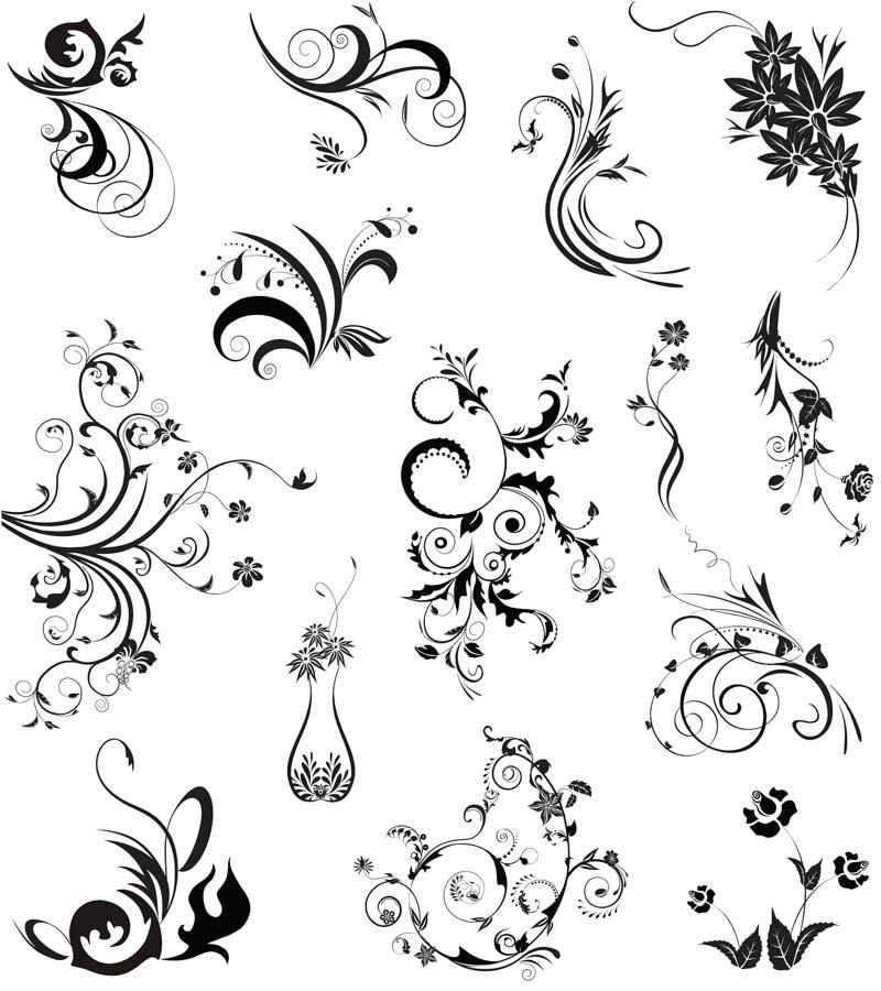800x900 Black Floral Ornaments Vector Vector Graphics Blog