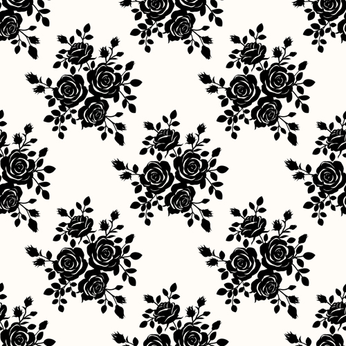 500x500 Black Roses Seamless Patterns Vector Graphics Free Download