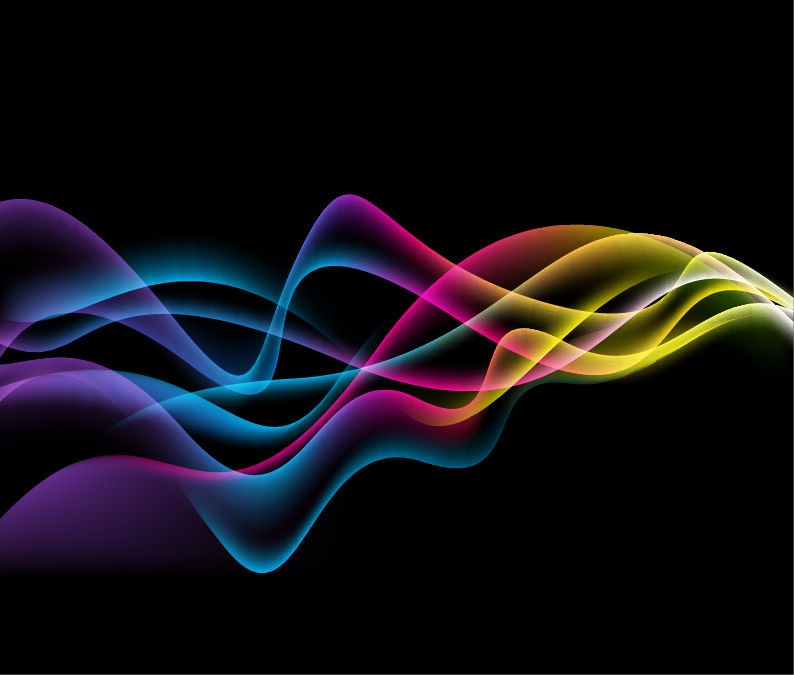 794x675 Colorful Abstract Waves On Black Background Vector Graphic Free