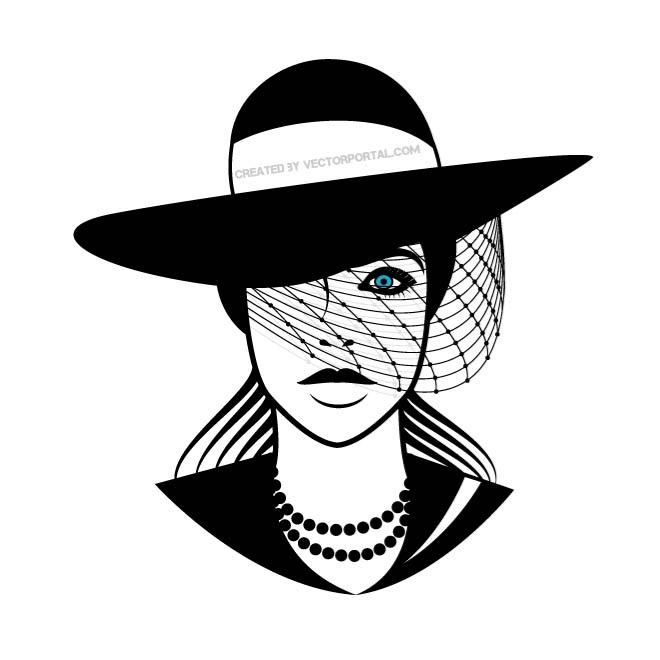 660x660 Lady With Black Hat Vector Graphics