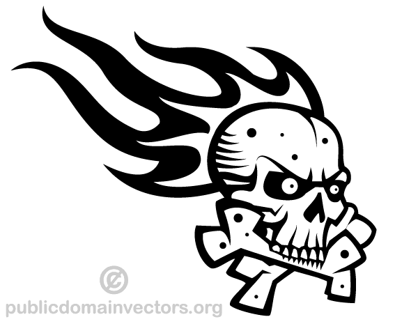 600x465 Skull With Flame Vector Graphics 123freevectors