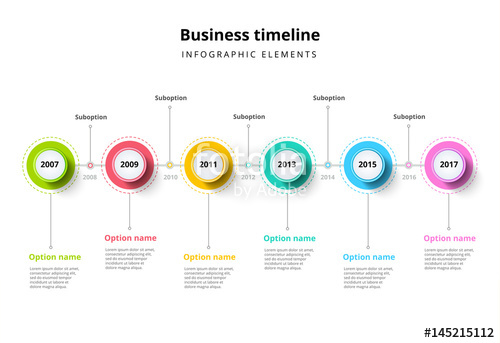 500x343 Business Timeline In Step Circles Infographics. Corporate