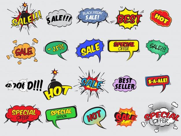626x469 Pop Art Comic Sale Discount Promotion Decorative Icons Set With