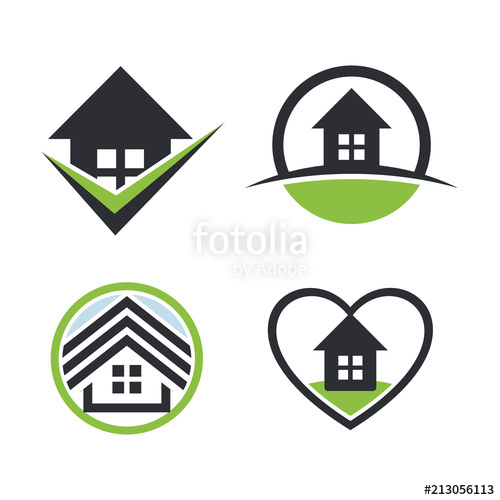 500x500 Real Estate Logo Set.house Rent Icon. Sweet Home Collection. Heart