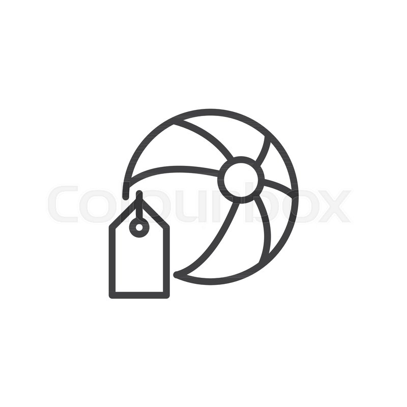 800x800 Beach Ball With Price Tag Outline Icon. Linear Style Sign For