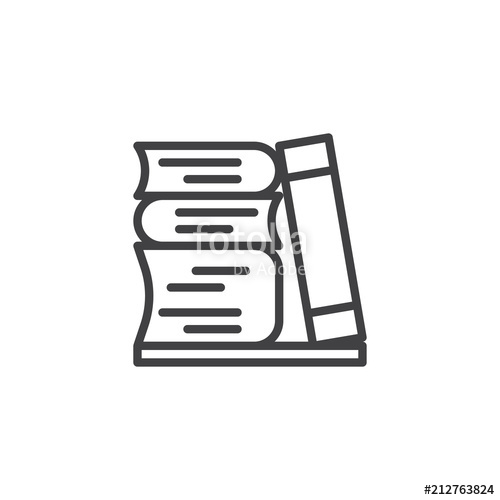 500x500 Stack Of Books Outline Icon. Linear Style Sign For Mobile Concept