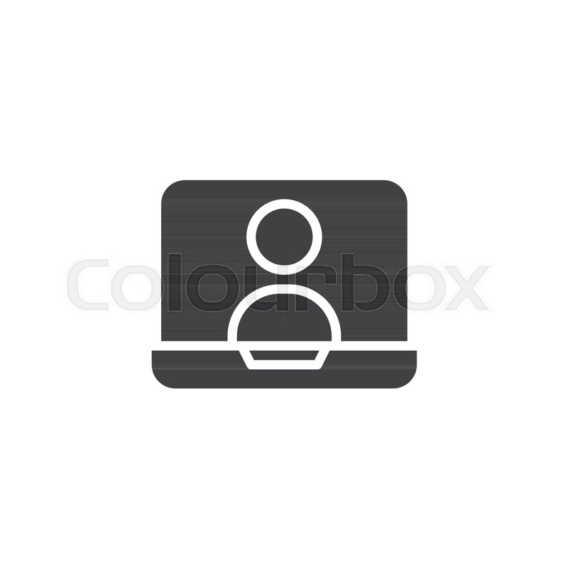 800x800 Online Chat On Laptop Screen Vector Icon. Filled Flat Sign For