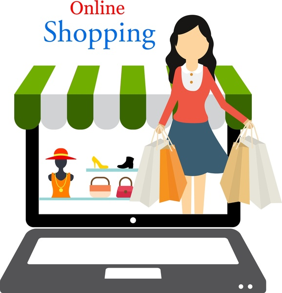 578x600 Online Shopping Concept Woman Shopping In Laptop Design Free