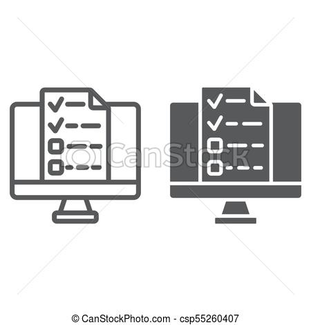 450x470 Online Tests Line And Glyph Icon, E Learning And Education, Exam