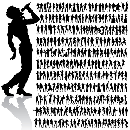 500x500 Dancing And Singing People Silhouettes Vector Graphics Free Download