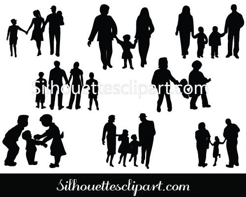 500x400 Family Silhouette Vector Graphics Download Family Vectors
