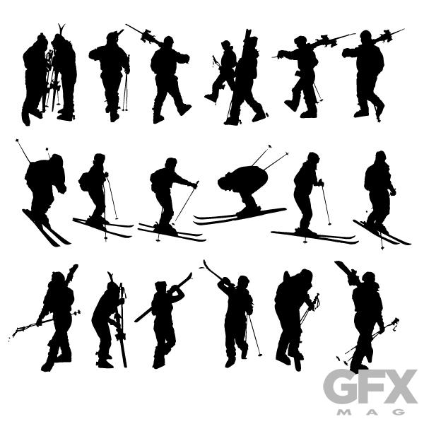 600x600 Free Ski Sport Vector Graphic Silhouette Clip Art Free Download