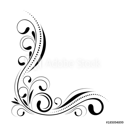 500x500 Floral Corner Design. Swirl Ornament Isolated On White Background