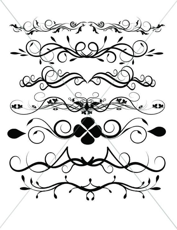 570x738 Flourish Svg Divider Lines Scalable Vector Graphics Etsy