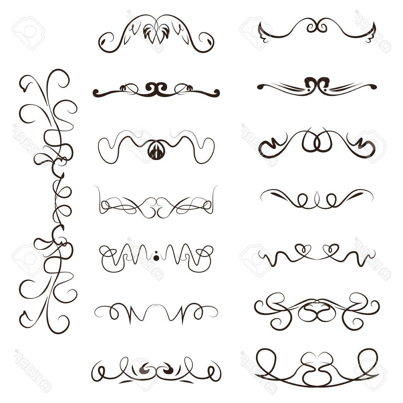 1300x1300 Best Hd Calligraphy Swirl Line Graphic Designs Vector Set Border