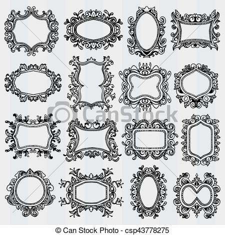 450x470 Set Of Vintage Frames. Retro Decorative Borders. Set Of Vintage