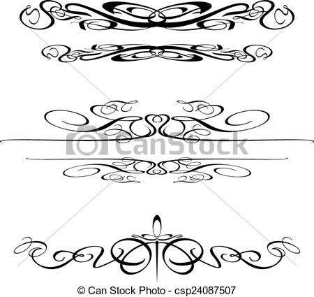 450x425 Swirl Border Elements 2. Decorative Vector Art Swirls.
