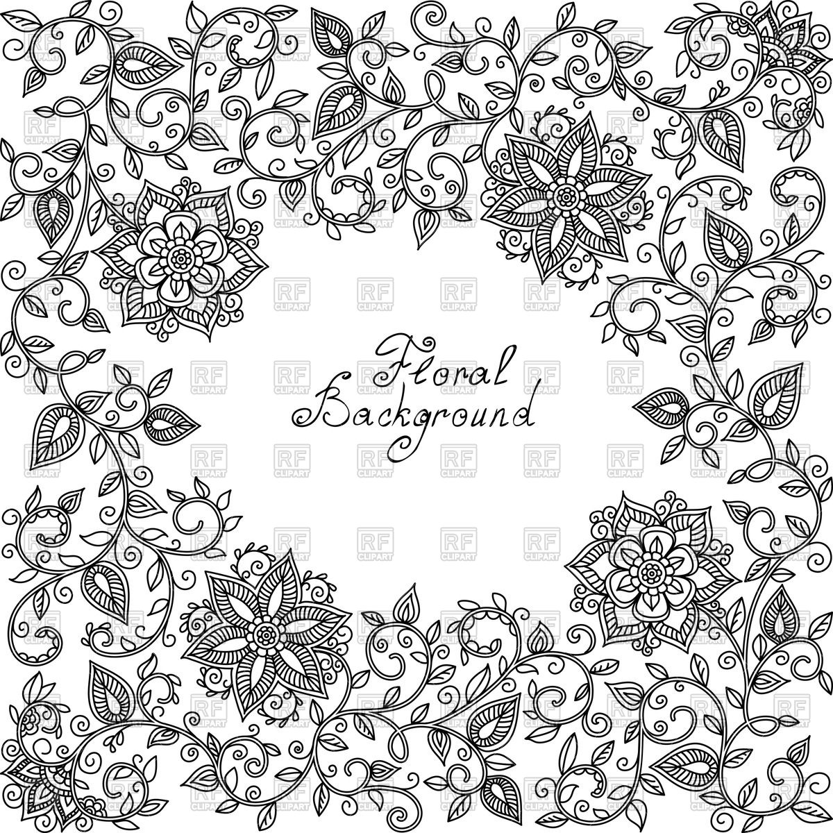 1200x1200 Black And White Floral Pattern Of Spirals And Swirls Vector Image