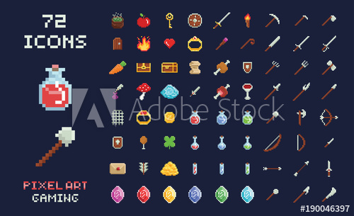500x305 Pixel Art Vector Game Design Icon Video Game Interface Set