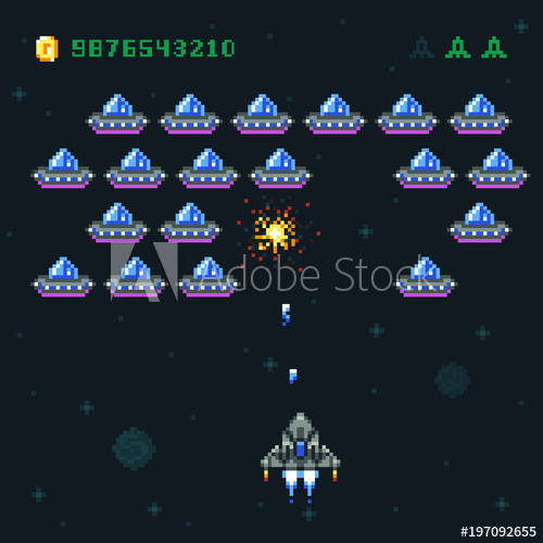 500x500 Retro Arcade Game Screen With Pixel Invaders And Spaceship. Space