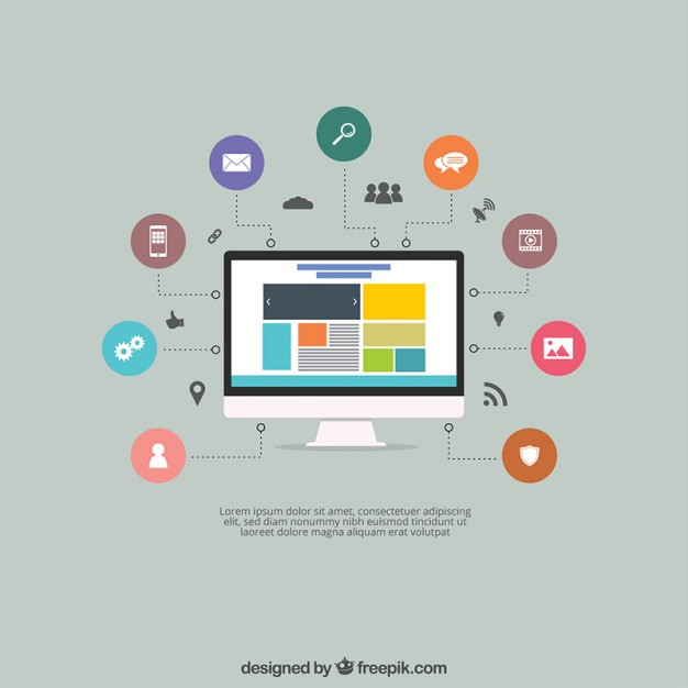 626x626 Screen With A Website And Icons Vector Free Download