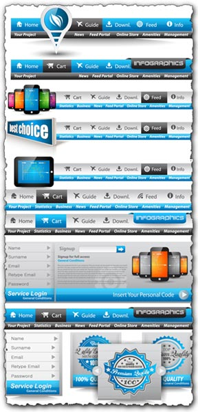 288x600 Web Headers Vector Elements