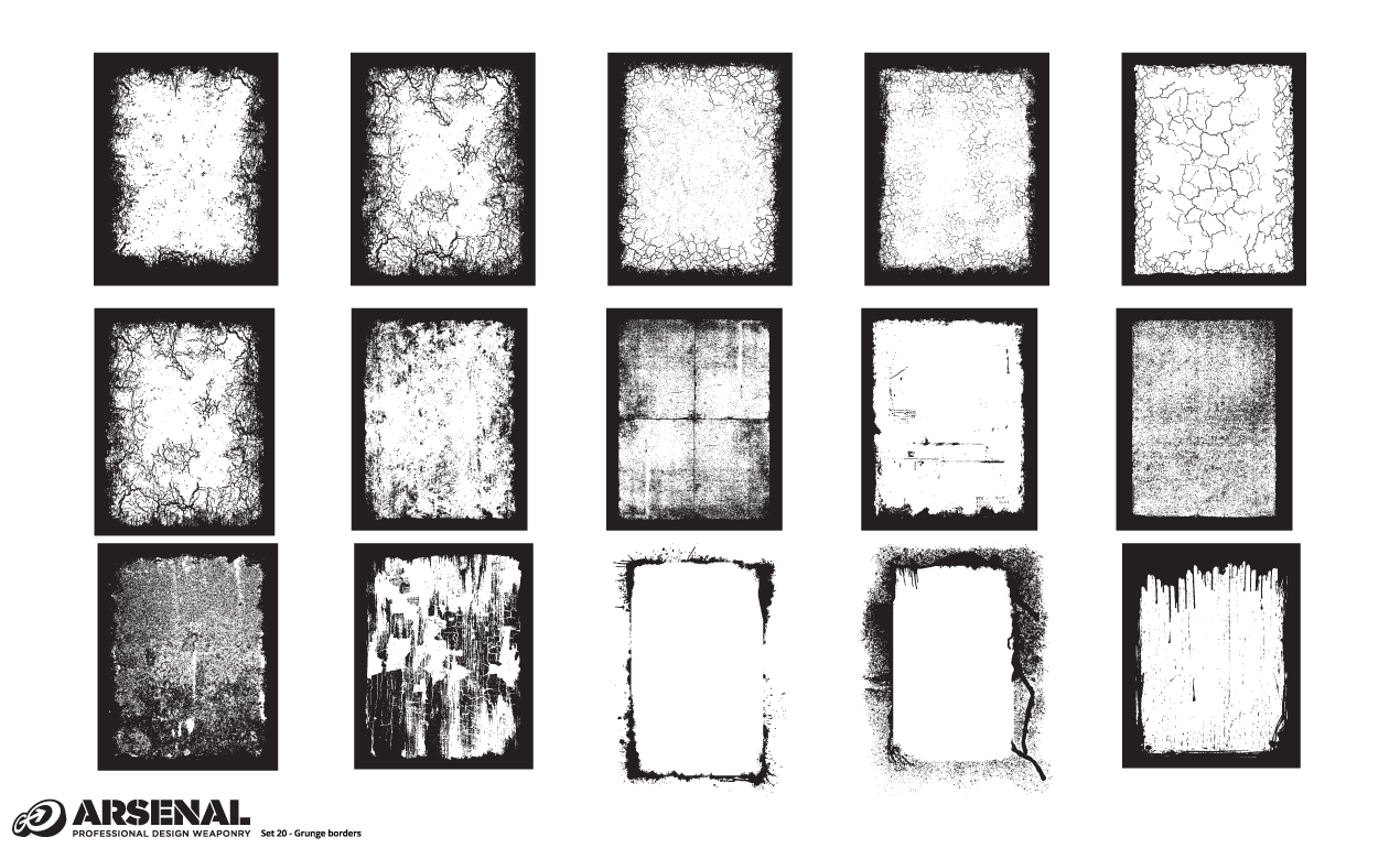 1270x770 Adobe Illustrator Grunge Borders Vector Pack