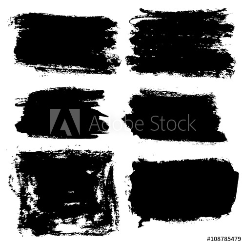 500x500 Vector Grunge Brush Strokes Backgrounds Set, Rectangle And Square